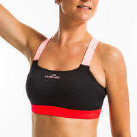 Women's Aquafitness Swimsuit Top Anna Black Orange