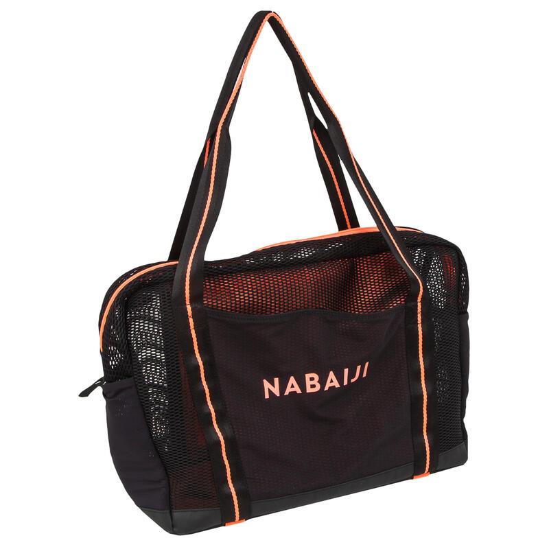 Mesh tas voor aquagym en aquafitness zwart/oranje