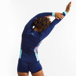 Shirt met rits en lange mouwen voor aquagym/aquafitness dames blauw