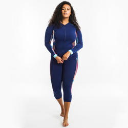Top manches longues zippé d'Aquagym et d'Aquafitness femme vib bleu