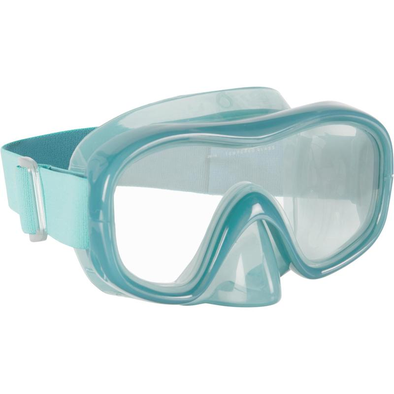 Adult Tempered Glass Snorkelling Mask SNK 520 peacock blue