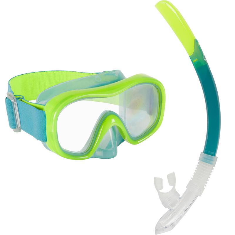 Kit Buceo Máscara Tubo Snorkel SNK 520 Niños Verde Fluorescente