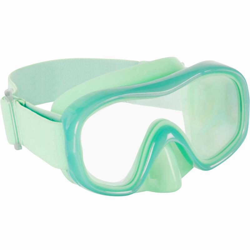 Gafa de Snorkel Subea SNK 520 Niños Verde Fluorescente Cristal Policarbonato