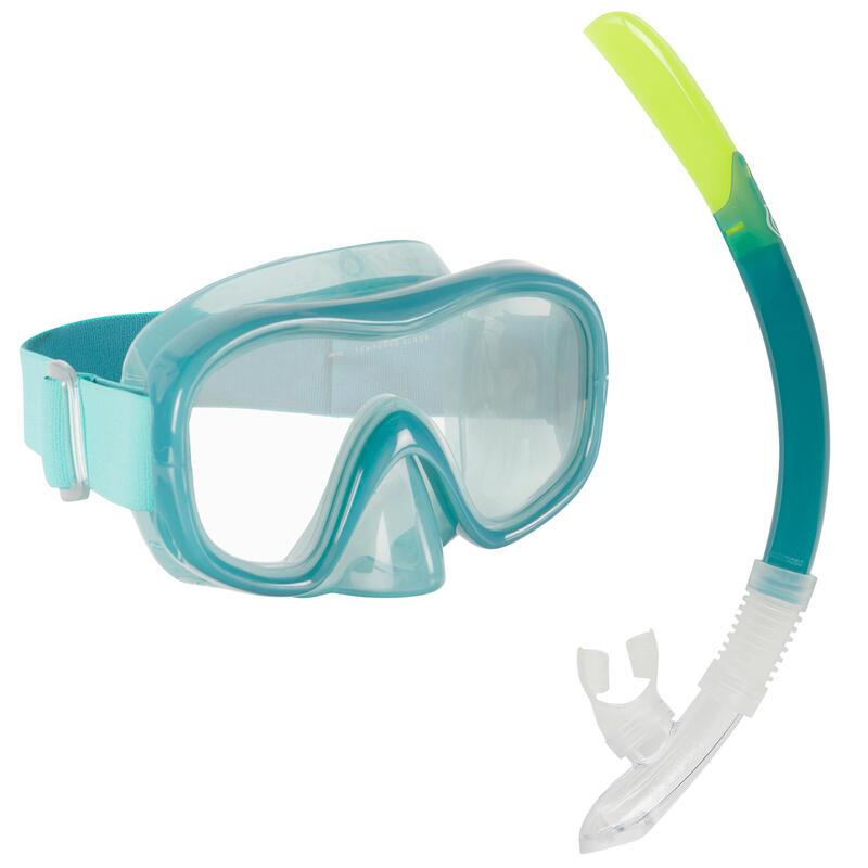 Kit Buceo Máscara Tubo Snorkel SNK 520 Adulto Verde Azulado
