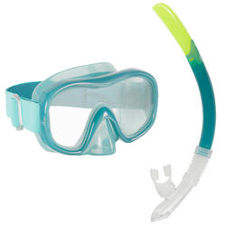 Adult's diving snorkelling Mask and Snorkel kit SNK 520 - Peacock Blue