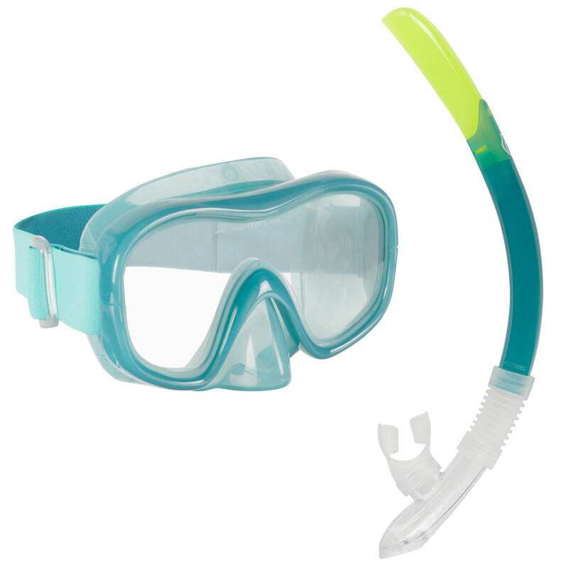 Kit plongée Masque et Tuba Snorkeling SNK 520 adulte bleu canard