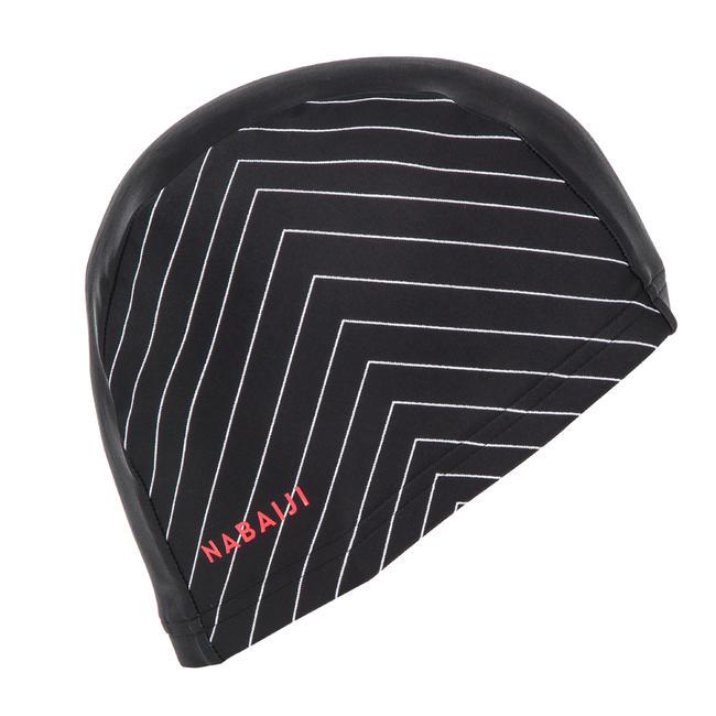 Swim cap mesh size large - printed black white