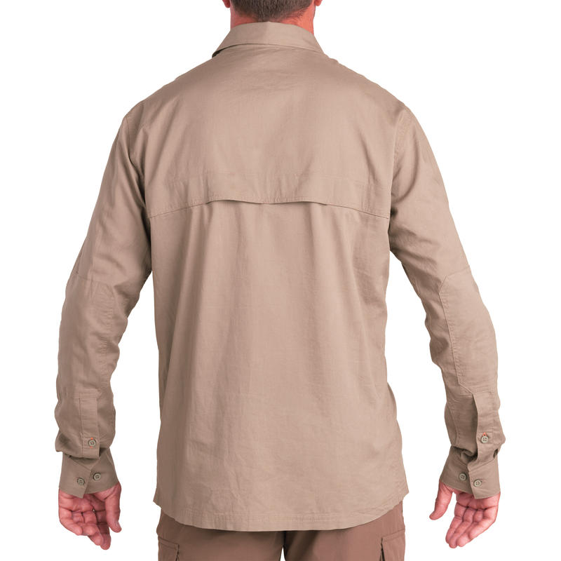 Light long-sleeved hunting shirt 500 brown