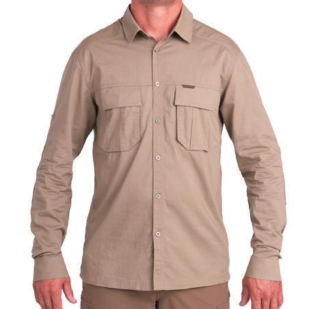 Light long-sleeved hunting shirt 500 brown