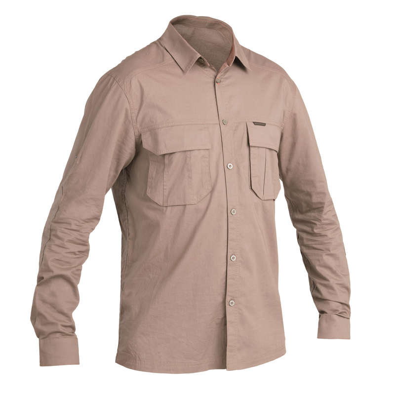 LIGHTWEIGHT CLOTHING Shooting and Hunting - SHIRT 500 ML BROWN SOLOGNAC - Hunting and Shooting Clothing