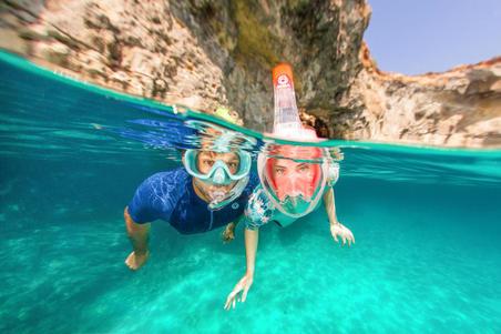 Masker Lensa Polikarbonat Snorkelling Anak SNK 520 turquoise