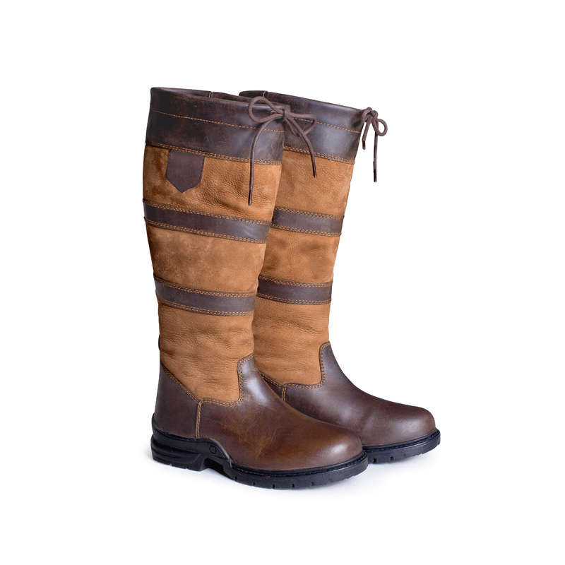 COLD WEATHER LONG RIDING BOOTS Horse Riding - Warm Jodhpur Boots - Brown WALDHAUSEN - Horse Riding Footwear