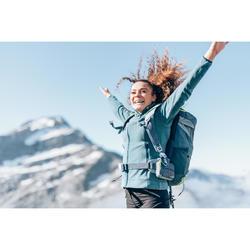 女款登山健行刷毛外套MH120-淺碧藍色
