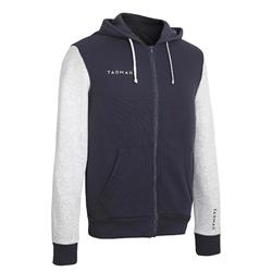 Beginner Basketball Hooded Zip-Up Jacket - Blue/Light Grey
