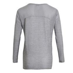 女款有氧健身訓練長袖T恤120-刷色灰