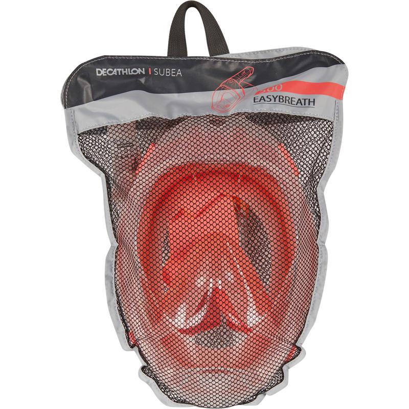 หน้ากากดำน้ำด้วยท่อหายใจบริเวณบริเวณผิวน้ำรุ่น Easybreath 500 (สีชมพู Coral)