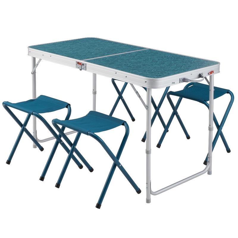 Salokāms kempinga galds ar 4 krēsliem, 4–6 personām