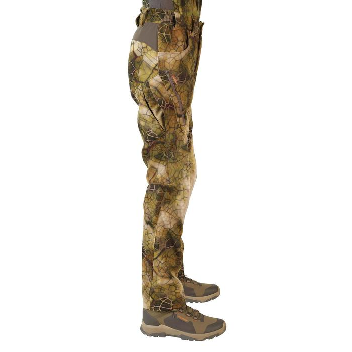 Geluidloze softshell broek voor de jacht 500 Furtiv camouflage
