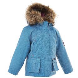 女童款2到6歲極致保暖雪地健行外套SH500-藍色