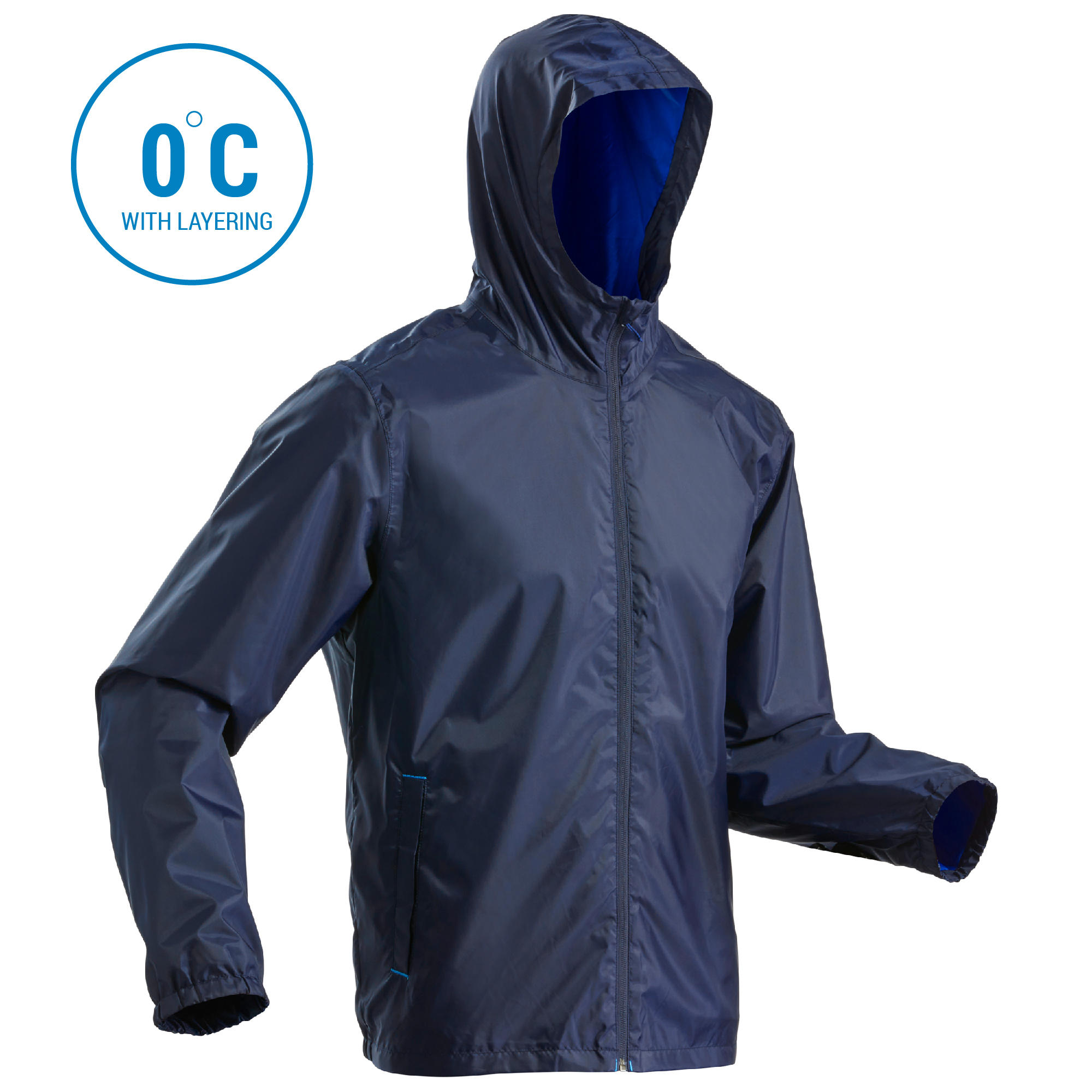 Men's Rain Jacket SH100 (Warm) - Navy blue