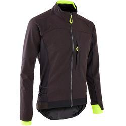 男款登山車外套ST 500 - 黑色/黃色