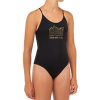 GIRL'S SURF SWIMSUIT HILOE 100 BLACK