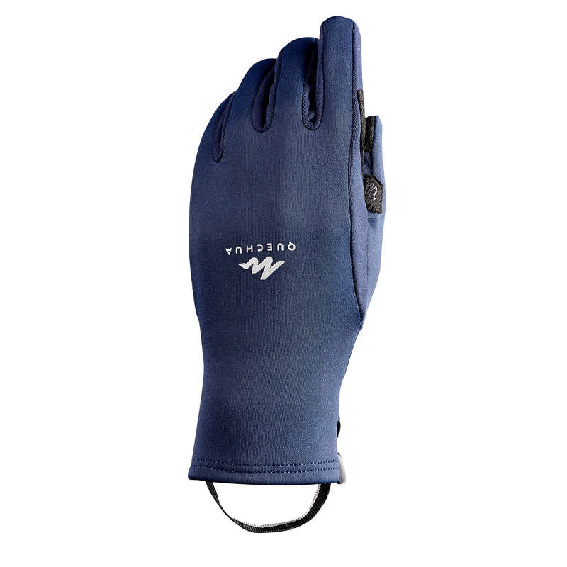 CHILDREN SNOW HIKING GLOVES & WARM SOCKS Hiking - JR Stretch Gloves MH500 - Blue QUECHUA - Hiking Clothes
