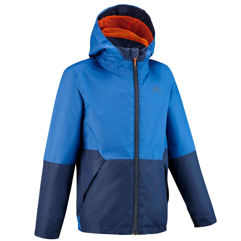 Veste imperméable de randonnée - MH500 bleu marine - enfant 7-15 ans