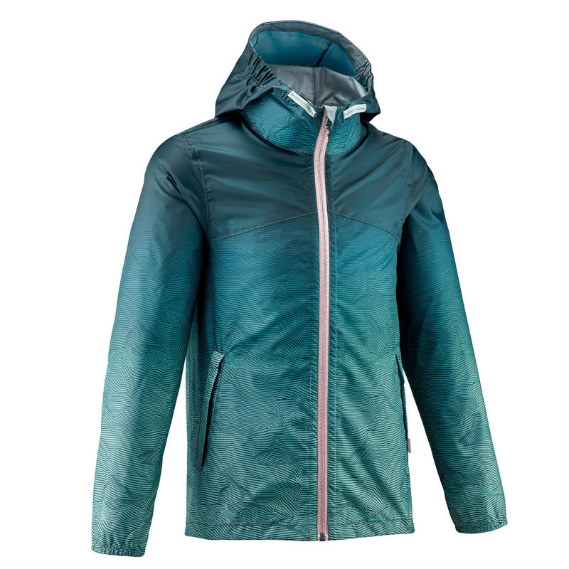 MH150 Kids' Waterproof Hiking Jacket - Turquoise