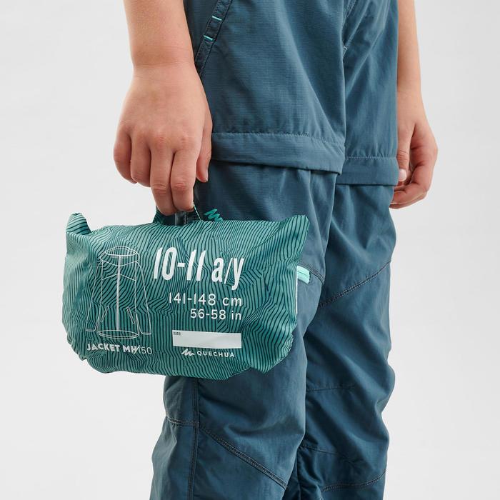 MH150 Kids' Waterproof Hiking Jacket - Turquoise