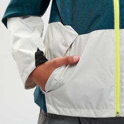 兒童款防水健行外套MH500-淺碧藍色/米色