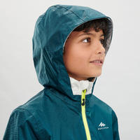 Kids' Waterproof Hiking Jacket - MH500 - Turquoise and Beige - age 7-15 years