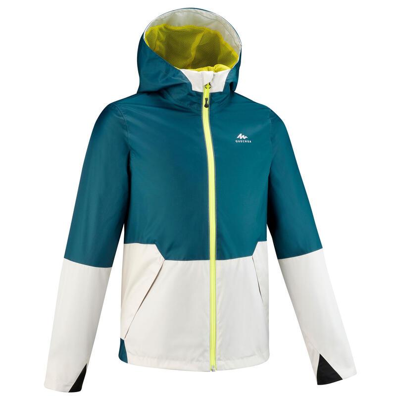 Veste imperméable de randonnée - MH500 turquoise et beige - enfant 7-15 ans