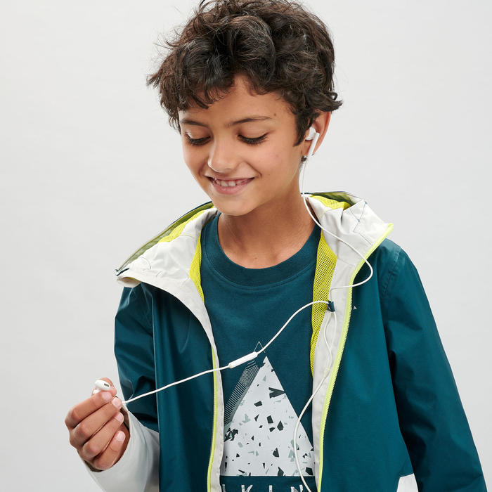 Kids Waterproof Hiking Jacket - MH500 - Turquoise and Beige