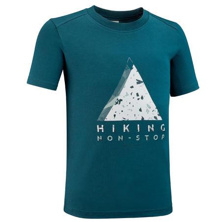 Camiseta Manga Corta De montaña y Trekking Quechua MH100 Niños Azul
