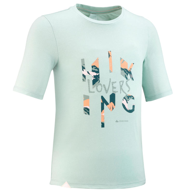 Kids' Hiking T-shirt MH100 7-15 Years - Light green
