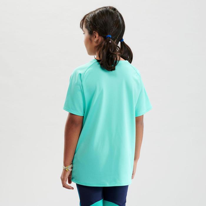 兒童款健行T恤 MH500-淺碧藍色