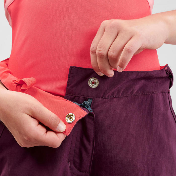 Pantalon de randonnée modulable enfant MH500 violet 7-15 ans