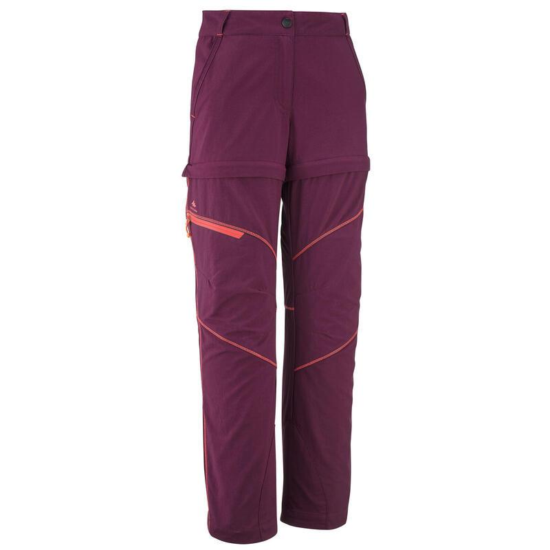 Pantalon Modulabil Drumeție MH500 Mov Copii 7-15 ani