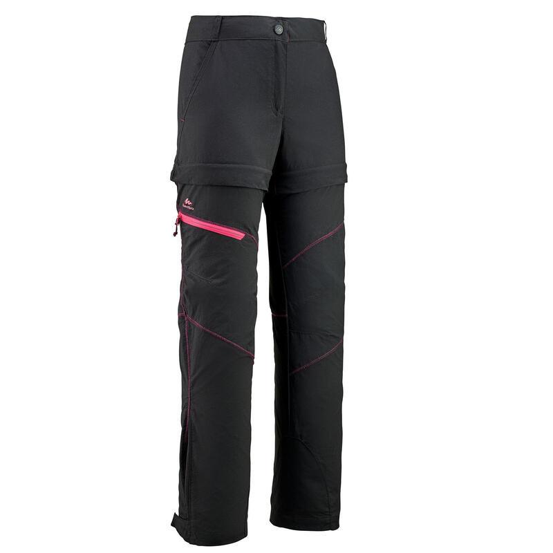 Pantalon Modulabil Drumeție MH500 Negru Băieți 7 -15 ani