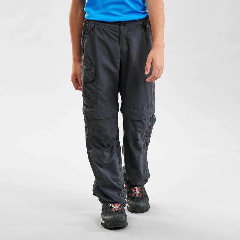 Kids Mountain Hiking modular trousers MH500 Black age 7-15 years