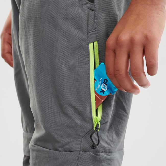 Children's modular hiking trousers MH500 dark - grey age 7-15 years