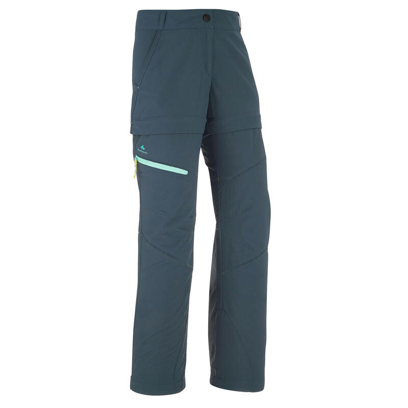 Kids' Modular Hiking Trousers MH500 Aged 7-15 Turquoise