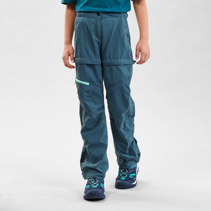 Pantalon de randonnée modulable enfant MH500 turquoise7-15 ans