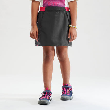 Kids Hiking Skort - MH100 - Grey and pink
