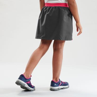 Jupe short de randonnée - MH100 grise et rose - enfant 7-15 ans