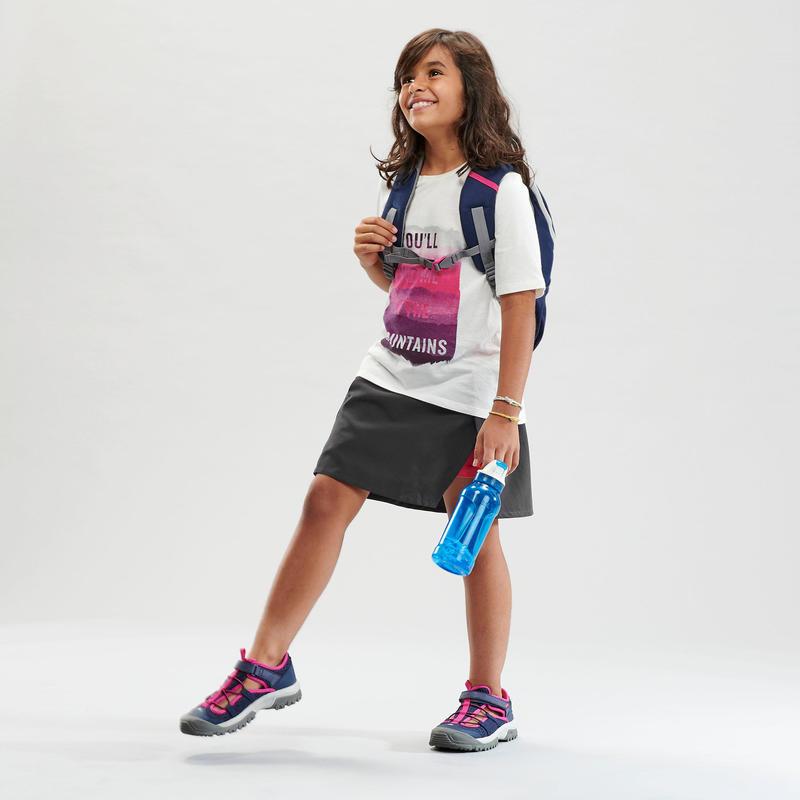 Kids Hiking Skort - MH100 - Grey and pink