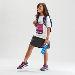 兒童款健行短褲裙MH100-黑色/粉紅色