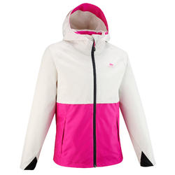 兒童款防水健行外套MH500-米色/粉紅色