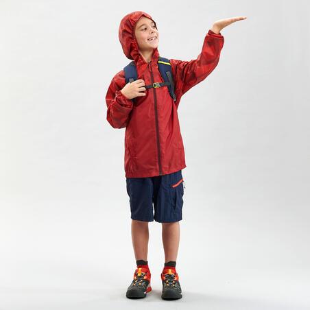 Kids' Waterproof Hiking Jacket - MH150 Aged  7-15 - Red